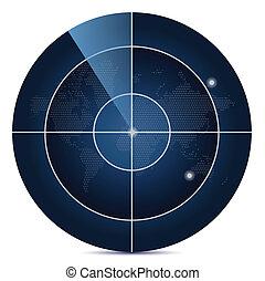 karta, avskärma, värld, radar