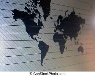 karta, avskärma, värld, tft, makro