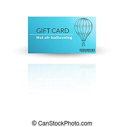 karta, balloon, nowoczesny, szablon, dar