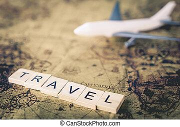 karta, begrepp, Årgång, resa, plan,  Text, värld