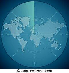 karta, begrepp, illustration, vektor, digital, sonar, värld, röja