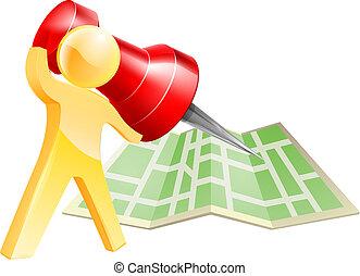 karta, begrepp, stift, guld, person