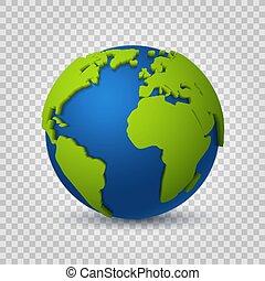 karta, begrepp, utrymme, kommunikation, glob totala, nymodig, planet., realistisk, vektor, grön, digital värld, 3d., mull