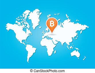 karta, bitcoin, underteckna