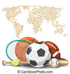 karta, deportes, concept., sporter utrustning, bakgrund, värld, sport