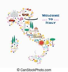 karta, design, vektor, italien, illustration