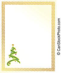 karta, drzewo, boże narodzenie, ilustracja