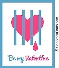 karta, dzień, powitanie, valentine