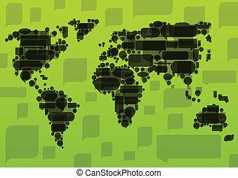 karta, ekologi, begrepp, illustration, vektor, anförande, bakgrund, värld, svart, bubblar, gjord, moln
