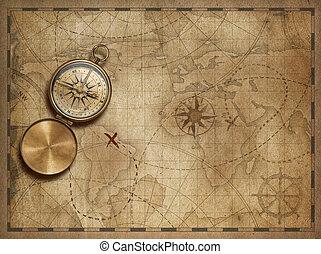 karta, elementara, gammal, möblera, nasa), illustration, ...