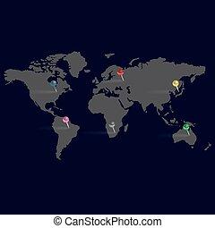 karta, eps10, enkel, skum färg, nålen, värld