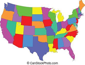 karta, färgad, usa