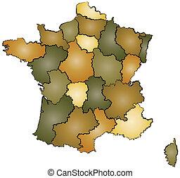 karta, förvaltning, frankrike