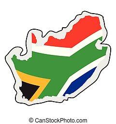 karta, flagga, afrika, dens, syd
