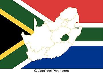 karta, flagga, afrika, syd