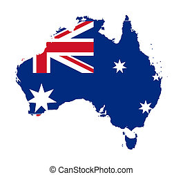karta, flagga, australien