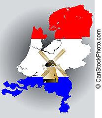 karta, flagga, färger, holland