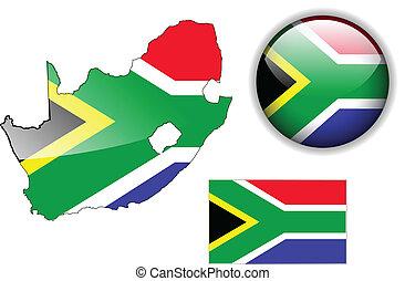karta, flagga, glatt, afrika, syd, b