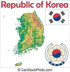 karta, flagga, södra korea, täcka
