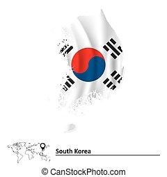 karta, flagga, södra korea