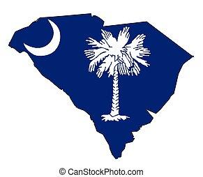 karta, flagga, skissera, södra carolina