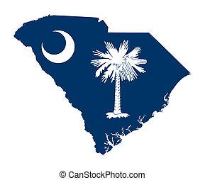 karta, flagga, tillstånd, södra carolina