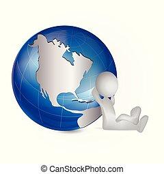 karta, folk, klot, värld, logo, vit, man, 3