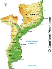karta, fysisk, moçambique