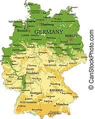 karta, fysisk, tyskland