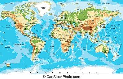 karta, fysisk, värld