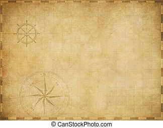 karta, gammal, årgång, nautisk, slitet, bakgrund, tom, ...