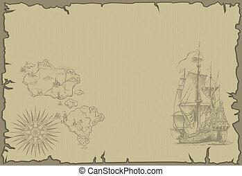 karta, gammal, bakgrund
