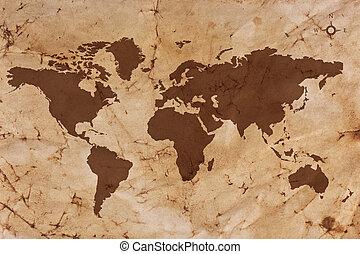karta, gammal, fläckat, papper, skrynkligt, värld, pergament