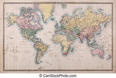 karta, gammal, projektering, värld,  mercators
