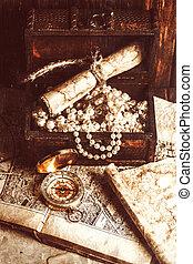 karta, gammal, trä, skatta bröstkorg, kompass, bord