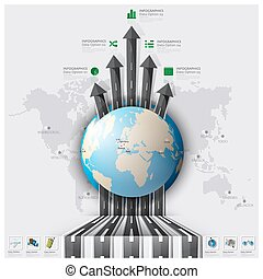 karta, gata, affär, resa, landningsbana, infographic, värld ...