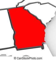 karta, georgia, abstrakt, påstår, tillstånd, enigt, amerika, röd, 3