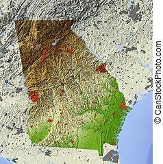 karta, georgia, oss, lättnad, tillstånd, skuggat