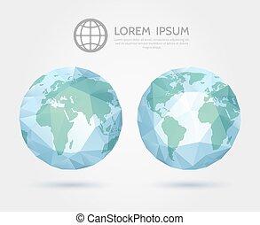 karta, globe., triangulär, polygonal, vektor, värld, mull, 3