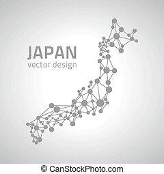 karta, grå, vektor, perspektiv, japan, mosaik