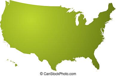 karta, grön, oss