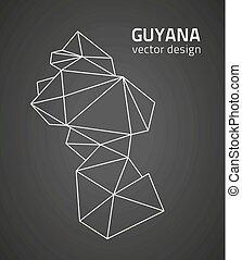 karta, guyana, triangel, perspektiv, svart