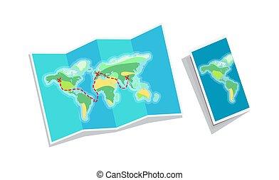 karta, häfte, isolerat, bakgrund, värld, vit