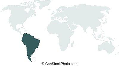 karta, hög, ameri, belysning, värld, syd