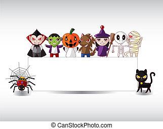 karta, halloween, rysunek