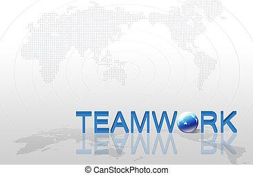 karta, hand, ord, begrepp, bakgrund, teamwork, affär