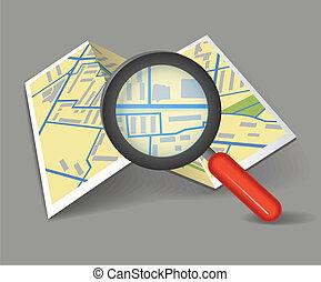 karta, hoplagd, förstoringsglas