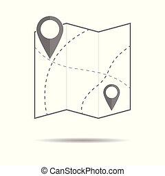 karta, ikon, med, stift, pekare, -, enkel, lägenhet, design, vektor