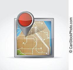 karta, ikon, med, stift, pekare, illustration, design