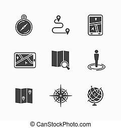 karta, ikonen, sätta